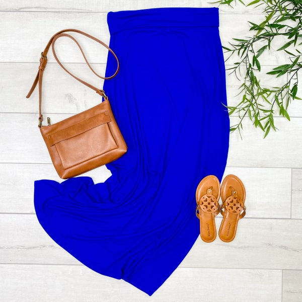 *PLUS* Relaxed Fit Maxi Skirt, Denim Blue [[LIVE]]