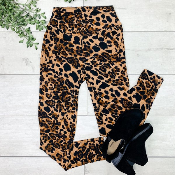 Leopard Print Leggings, Brown *Final Sale*