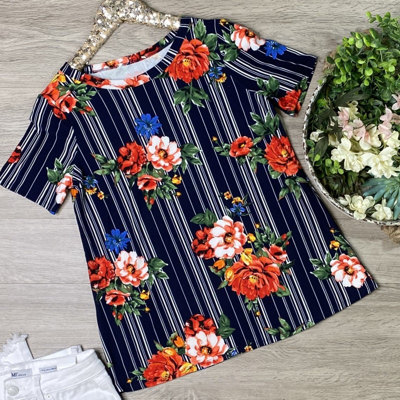 Striped Floral Top, Navy *Final Sale*