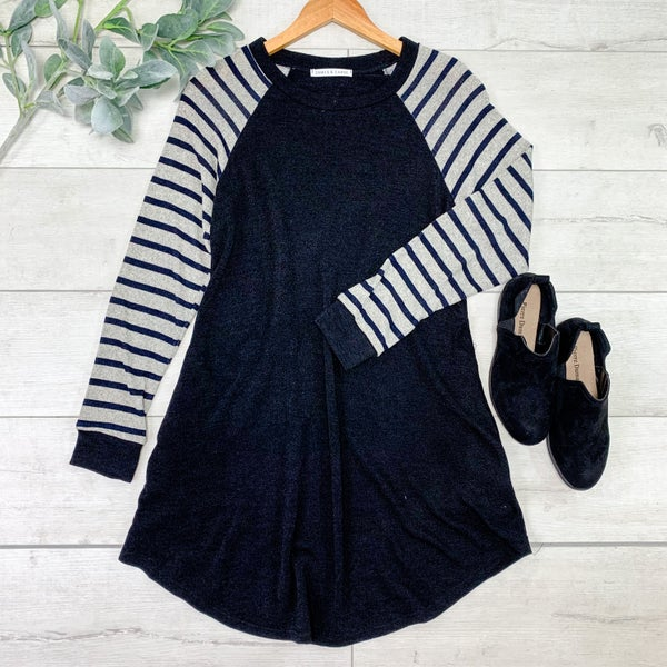 Contrast Striped & Solid Tunic, Black