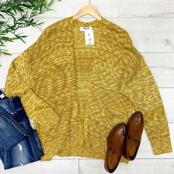 Knit Cardigan w/Pockets, Mustard