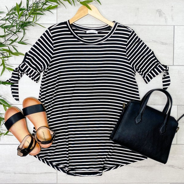Striped Tie Sleeve Top, Black