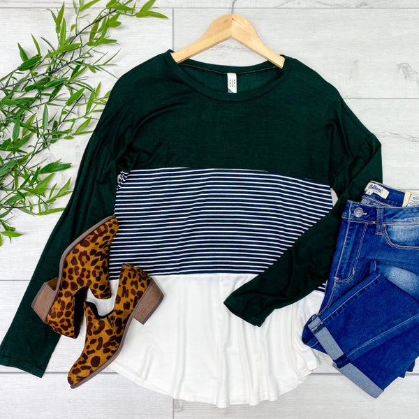 Striped Color Block Top, Hunter Green