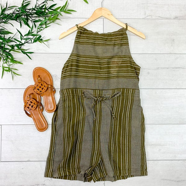 Striped Tie Back Sleeveless Romper, Olive