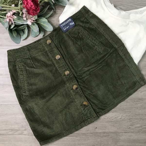 **YMI** Corduroy Button Front Skirt, Olive
