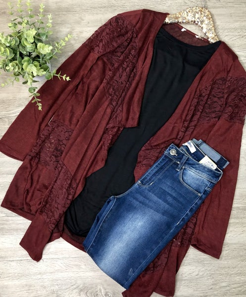 Contrast Lace Cardigan, Burgundy