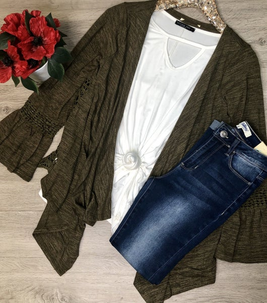 Bell Sleeve Cardigan w/Crochet Detail, Olive