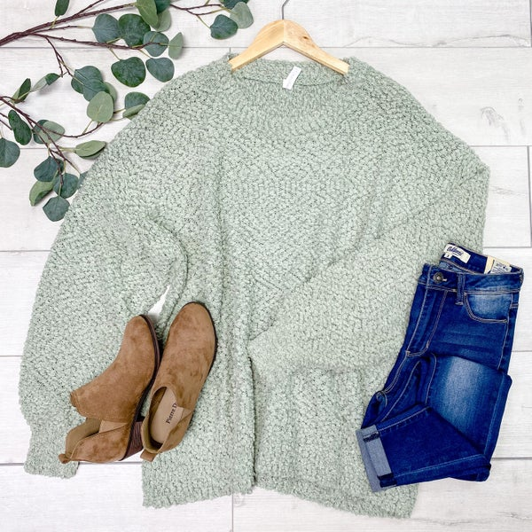 *PLUS* Solid Popcorn Sweater, Light Sage