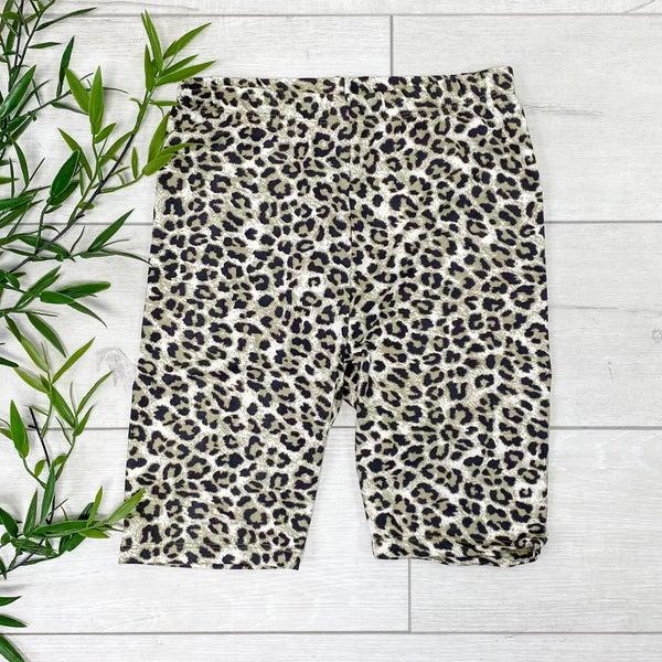Leopard Print Biker Shorts - OLIVE