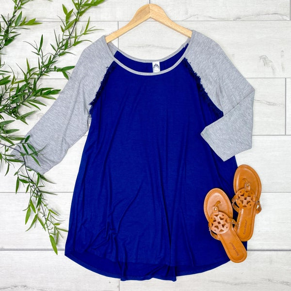 Raglan Tunic with Fringe Accents, Navy