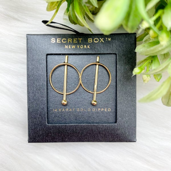 Round Bar Stud Earrings, Gold