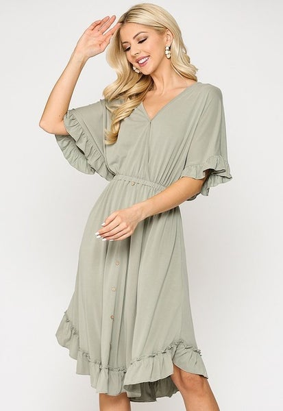 Modal Button Down Ruffle V-Neck Dress - DUSTY SAGE