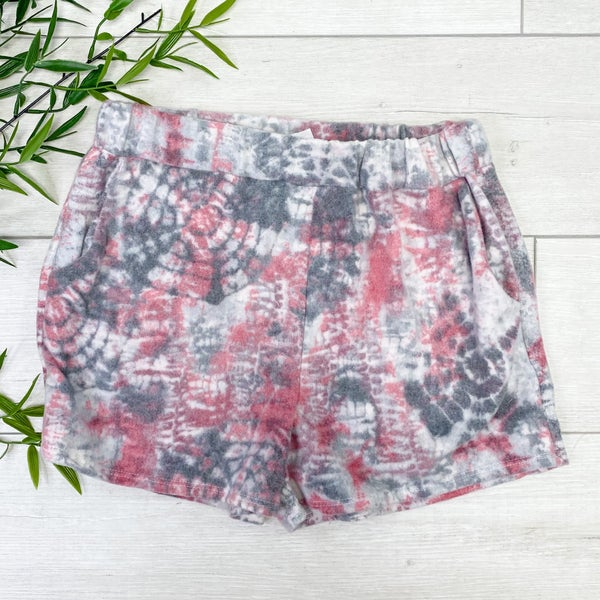 Brushed Knit Tie Dye Shorts, Pink *Final Sale*