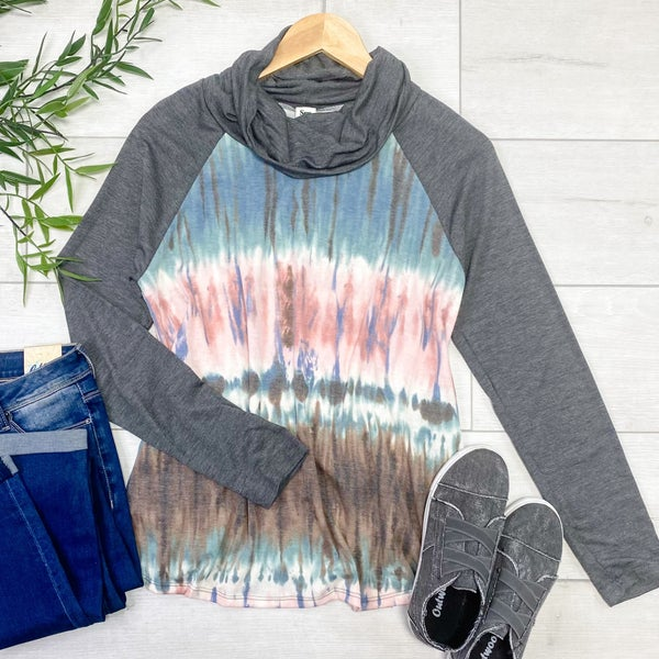 Contrast Solid & Tie Dye Cowl Neck Top, Charcoal