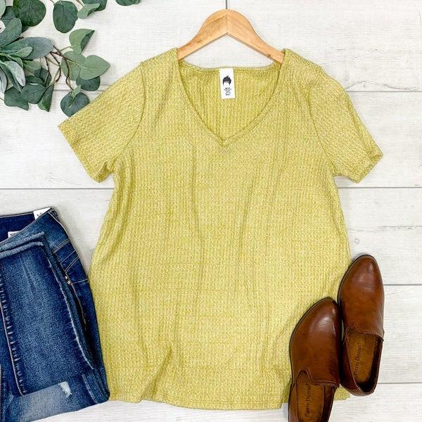 Waffle Knit V-Neck Top, Mustard