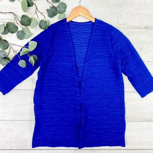 Textured 3/4 Sleeve Cardigan, Royal Blue *Final Sale*