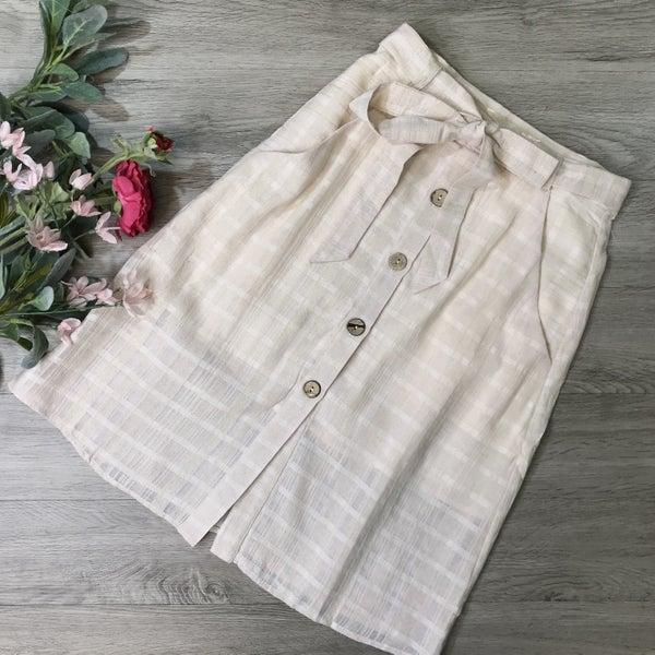 Button Down Midi Skirt, Blush