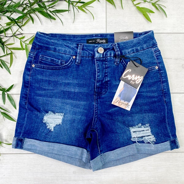 *YMI* Curvy Fit High Waist Cuffed Shorts - Distressed Medium Wash