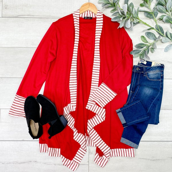 Striped Border Sharkbite Cardigan, Red