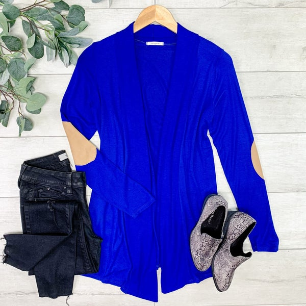 Solid Cardigan w/Elbow Patches, Blue