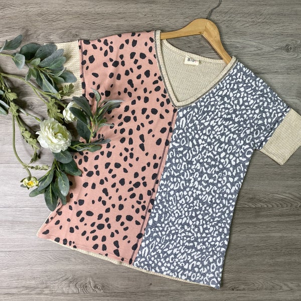 *Kendra's Collection* Leopard Contrast Top, Mauve