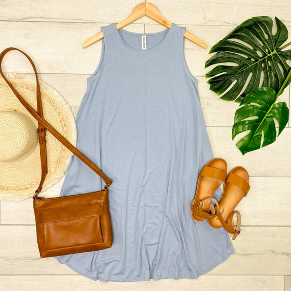 Solid Sleeveless Round Hem Dress, Ash Blue [[LIVE]]