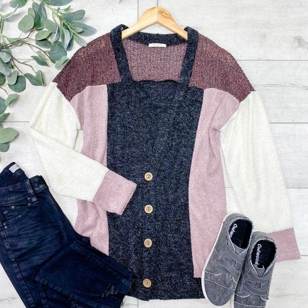 Color Block Cardigan, Cream