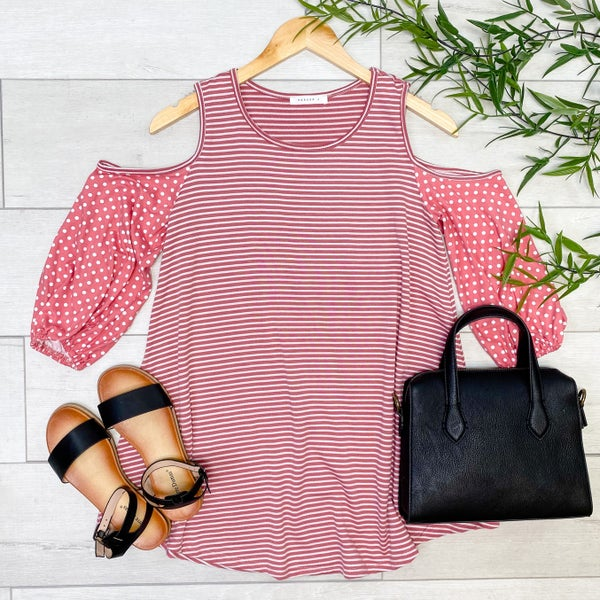 Striped And Polka Dot Cold Shoulder Top, Pink
