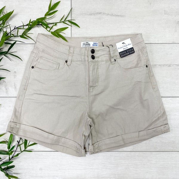 *YMI* High Rise Denim Shorts, Cobble Stone