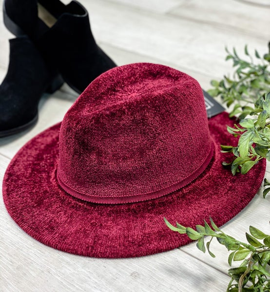 Chenille Soft Fedora Hat, Burgundy *Final Sale*