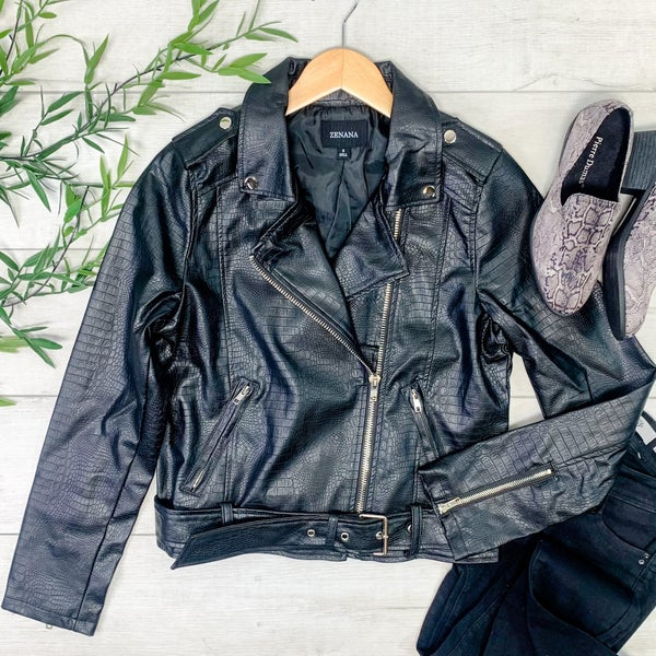 Vegan Leather Snake Pattern Moto Jacket, Black
