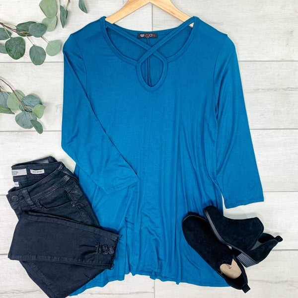 Solid Tunic w/ Circle Criss Cross Neck, Teal