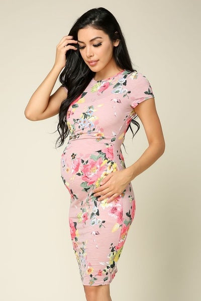 Maternity Short Sleeve Bodycon Dress - MAUVE