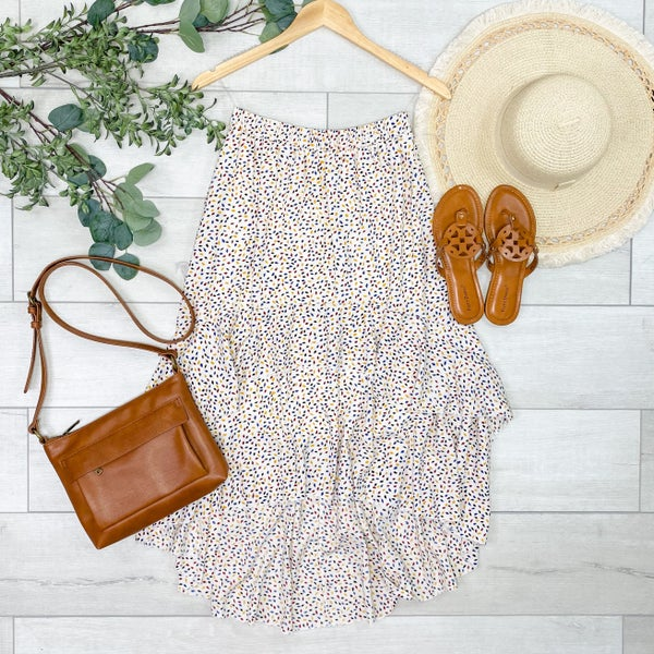 Patterned Ruffle Tiered Skirt, Cream