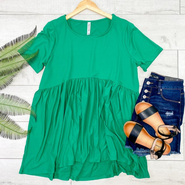 *PLUS* Solid Babydoll Top, Kelly Green