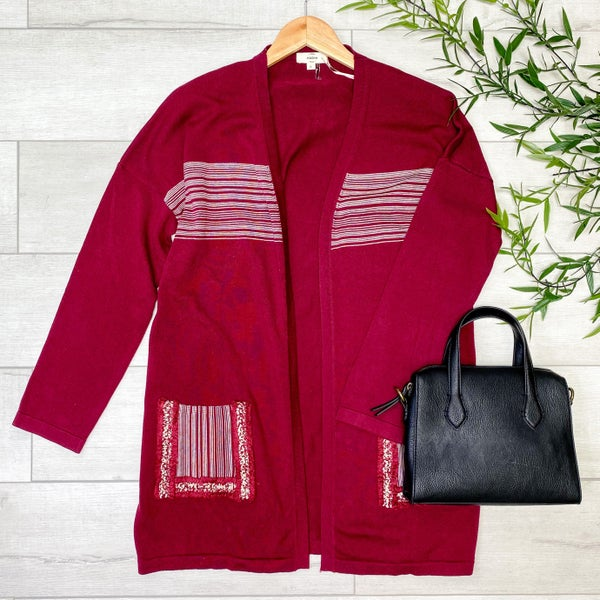Striped Detailed Cardigan w/ Pockets, Burgundy