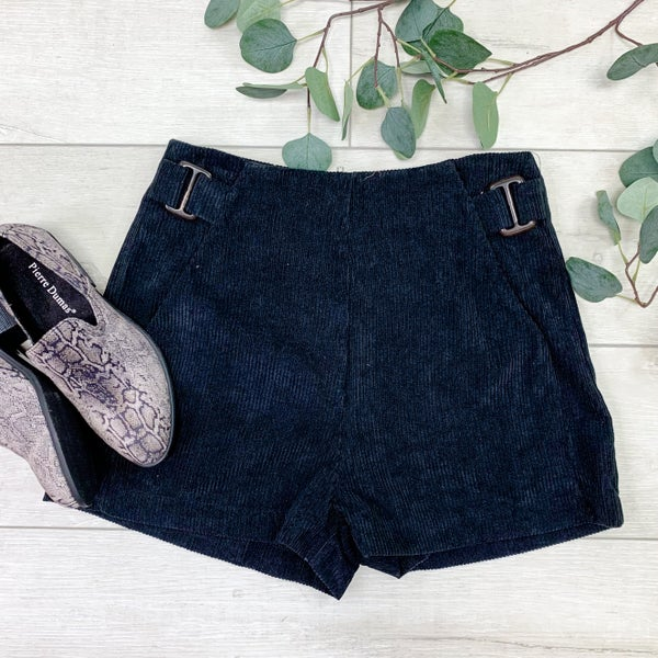 Corduroy Shorts w/Pockets, Black