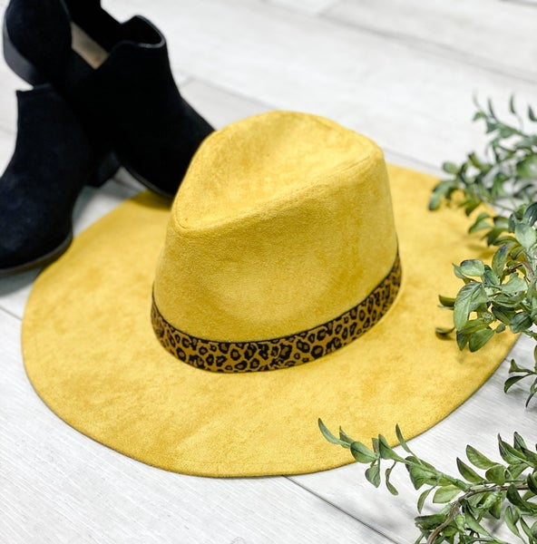 Leopard Trimmed Hat, Mustard *Final Sale*