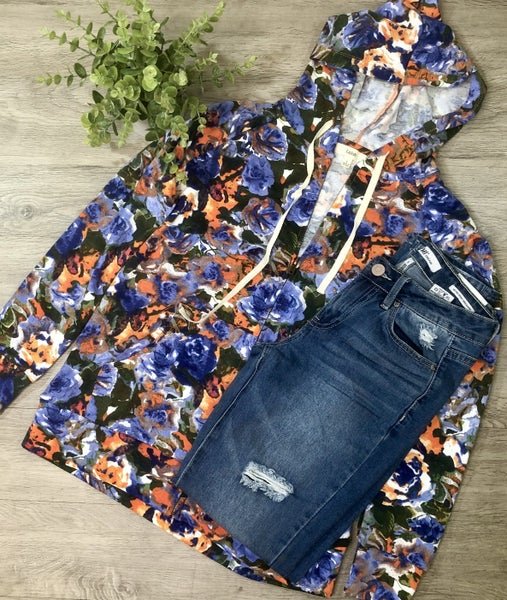 Floral Front Zip Hoodie, Blue/Orange *Final Sale*