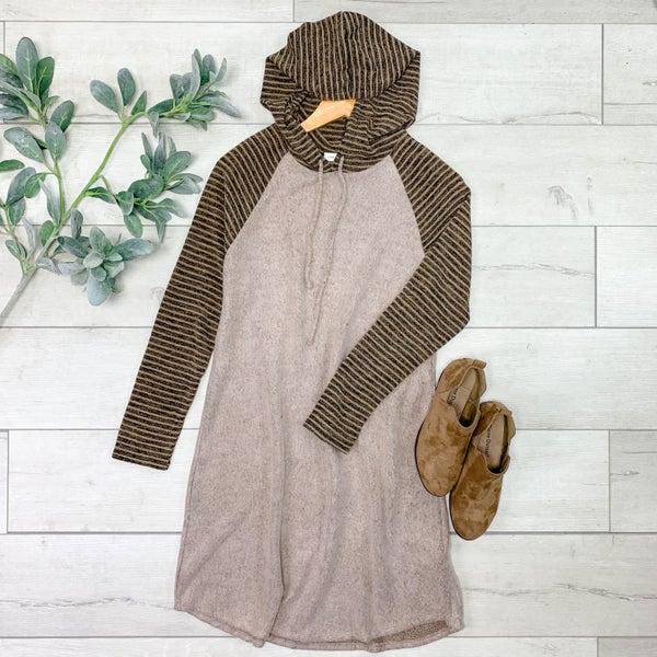 Hooded Tunic Dress, Oatmeal *Final Sale*