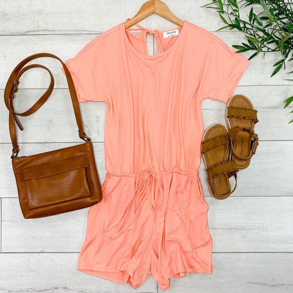 Solid Romper, Coral