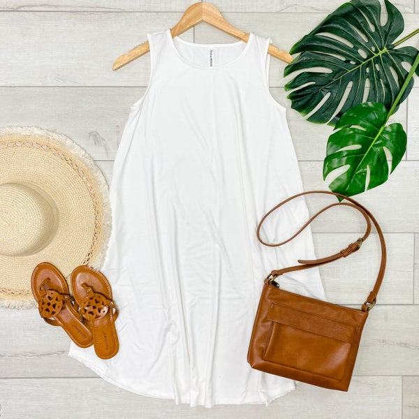 Solid Sleeveless Round Hem Dress, Ivory [[LIVE]]