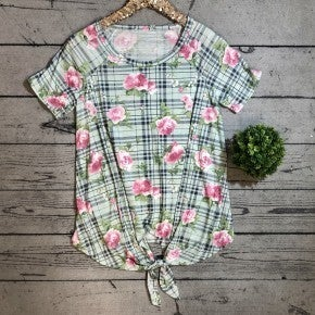 Floral Plaid Knotted Top - MINT(N) *LAST CALL - $5* [FINAL SALE] *Final Sale*