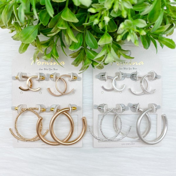 Multiple Hoop Earrings Set *Final Sale*