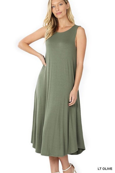 Sleeveless Midi Dress - LT OLIVE