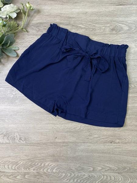 Paperbag Shorts- Navy