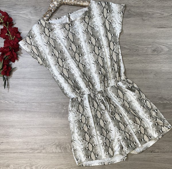 *Kendra's Collection* Snake Print Romper, Ivory/Coffee