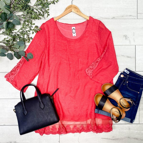 Solid Tunic with Lace Ruffle, Strawberry