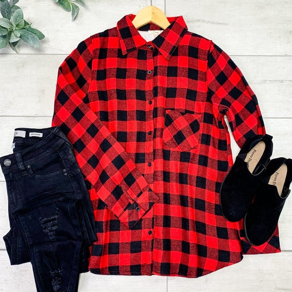 Buffalo Plaid Sherpa Lined Flannel Plaid Shirt, Red/Black *Final Sale*