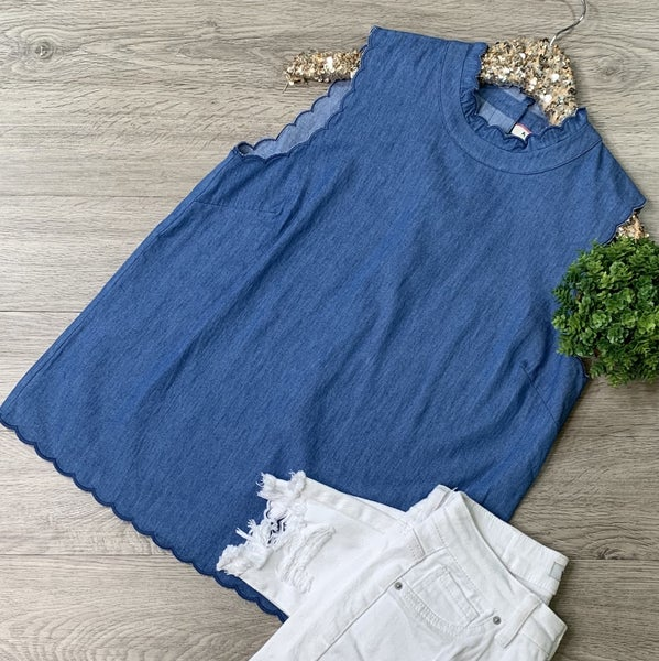*Kendra's Collection* Scalloped Sleeveless Top, Denim
